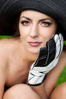 Free Woman With Football Glove Royalty Free Stock Photo - 16579655