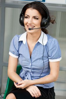 Free Girl Commentator With Headset Stock Photos - 16579733
