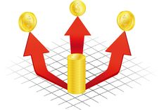 Diagram And Arrow With Money Stock Image