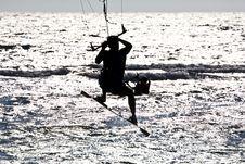 Free Kitesurfer  Silhouette Stock Photography - 16581172