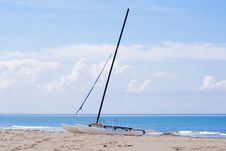 Catamaran On A Beach Royalty Free Stock Photos