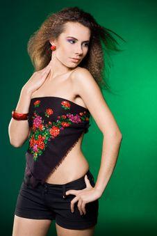 Free Beautiful Woman On Green Royalty Free Stock Photography - 16581507
