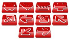 Free Red Arrow Sign Web 2.0 Internet Buttons. Stock Images - 16582414