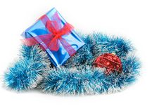 Christmas Decoration And Gift Box Over White Royalty Free Stock Photos