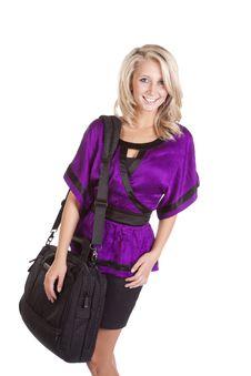 Woman Purple Holding Bag Stock Photos