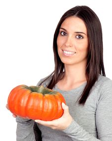 Free Beautiful Girl With A Big Pumpkin Royalty Free Stock Photography - 16583937
