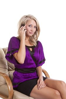 Free Woman Purple Sit Talk On Phone Stock Photography - 16583942