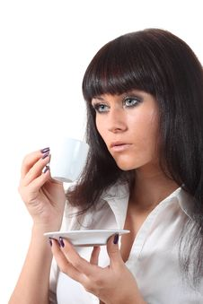 Free Pretty Blue Eyes Woomen Drink Coffee Stock Photography - 16584072