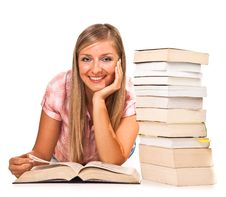 Free Isolated Woman With Books Stock Photography - 16586672