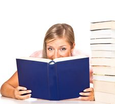 Free Isolated Woman With Books Royalty Free Stock Photos - 16586678