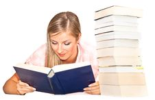 Free Isolated Woman With Books Royalty Free Stock Photo - 16586685