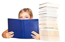 Free Isolated Woman With Books Royalty Free Stock Photography - 16586687