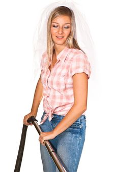 Free Woman Casual Clothes & Wedding Veil Vacuum Cleaner Stock Images - 16586834