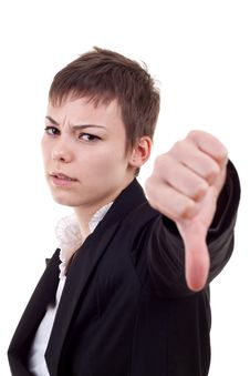 Business Woman Gesturing Thumbs Down Stock Photo