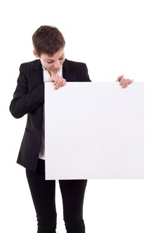 Free Woman Holding A Blank Billboard Stock Image - 16586891