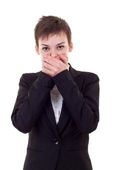 Free Woman Covering Her Mouth With Hands Stock Photography - 16586902