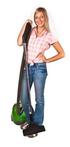 Free Woman Casual Clothes & Wedding Veil Vacuum Cleaner Stock Photos - 16586903