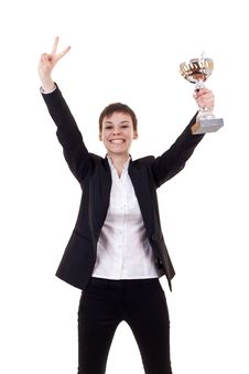 Excited Young Business Woman Winning Stock Photos