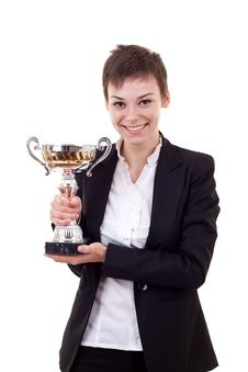 Business Woman Holding A Silver Cup Royalty Free Stock Photo