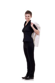 Woman With Jacket On Shoulder Royalty Free Stock Photo