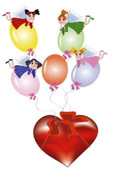Free Fairies Flying On The Balloons Royalty Free Stock Photos - 16588668