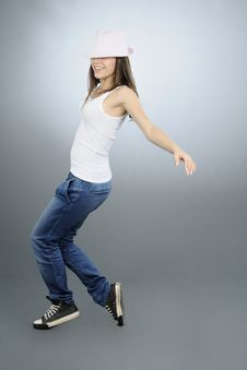 Beautiful Girl Jumping In Studio
