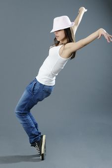 Free Girl Dancing With Hands In Air Stock Images - 16589084