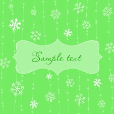 Free Retro Snowflakes Card In Green Stock Photo - 16592280