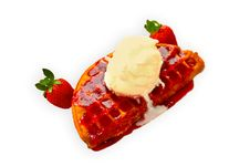 Free Strawberry Icecream Waffer Cake Dessert Stock Photo - 16594330