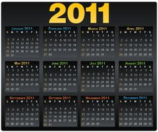 Free Vector Calendar Grid 2011 Year English Royalty Free Stock Photography - 16594357