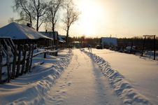 Free Snow Road In The Village Stock Photography - 16595792