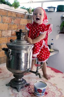 Free Girl With Samovar Royalty Free Stock Photography - 16595877