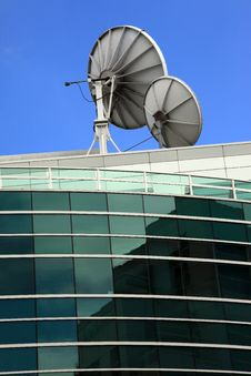 Free Satellite Dishes, Communication Media Center. Stock Photos - 16596593