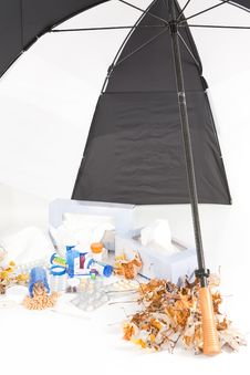 Free Cold And Flu Season With Umbrella_Portrait Stock Photo - 16596880