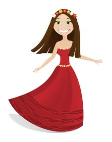 Free Cute Girl In Red Dress Royalty Free Stock Photography - 16597667