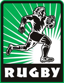 Rugby Player Running With Ball Royalty Free Stock Images