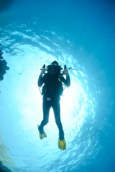 Free Female Scuba Diver And Underwater Video Equipment. Stock Images - 16599864