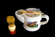 Shaving Mug, Brush And Straight Razor Stock Images