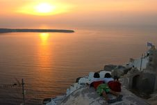 Traditional Greek Village, Oia, Santorini, Sunset Royalty Free Stock Photo