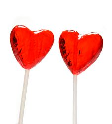 Free Two Heart Shaped Lollipops For Valentine Stock Images - 1663404