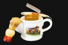 Shaving Mug, Brush And Straight Razor Stock Photos