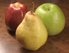 Free Greater, Ripe Two Apples And Pear. Stock Image - 1665621