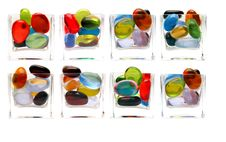 Free Eight Differents Glass With Colorful Pebbled Stock Photos - 1666213