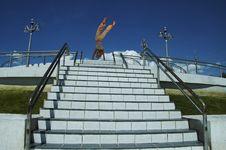 Free Cartwheel On The White Steps Stock Photo - 1667250