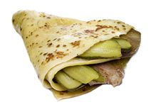 Meat With Cucumber Enfolded In Pancake Royalty Free Stock Photo