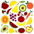 Free Colorful Fruit And Vegetable Pattern Stock Image - 16602431