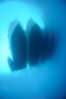 Free Underwater View Of Dive Boats Moored Together Royalty Free Stock Image - 16600536