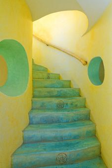 Yellow And Blue Stairway Stock Photos