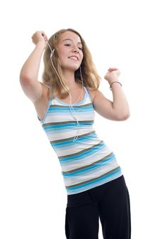 Teenager With Mp3 Player Dancing Royalty Free Stock Images