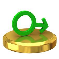 Free Man Symbol On Gold Podium Stock Photos - 16605033